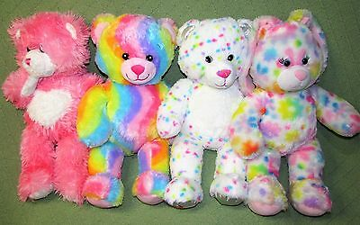 Build A Bear LOT Enchanted Garden Rainbow Pink + Magnetic Hands CONFETTI Tye Dye