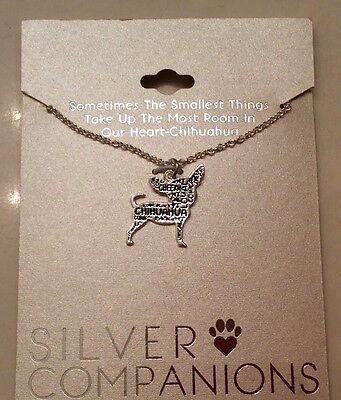 """NEW Chihuahua Dog Fine Silver Plated Pendant Necklace 18"""" Chain"""