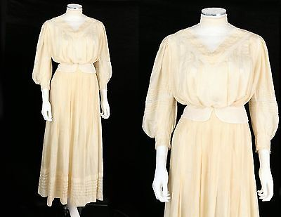 VTG 1900s Victorian Edwardian 2pc SILK DE CHINE LACE INSERTION WEDDING DRESS XS