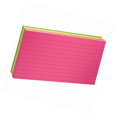 "Glow Index Cards Paper 3""x5"" Ruled Assorted Bright Colors 100/Pack"