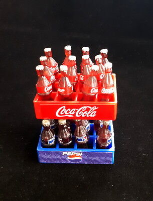 12 coca cola and 12 pepsi bottles with tray sets plastic miniature dollhouse