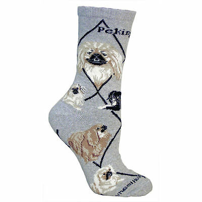 Pekingese Dog Breed Gray Lightweight Stretch Cotton Adult Socks