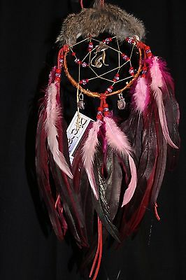 "Handcrafted Mohawk Birch Bark Dream Catcher 5"" X18"" with Amathyste Stones"