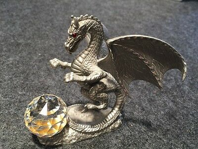 MASTERWORKS 1989 fine pewter red gem eyed dragon leaping large crystal ball