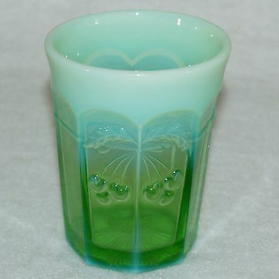 Mosser Drinking Glass Cherry & Cable Pattern Green