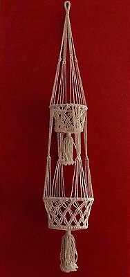 Hand Made From Bali Macrame Double Basket Pot Plant Hanger BRAND NEW