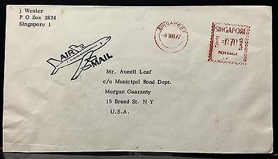 Singapore Airmail Cover 1977 to U.S.A. With Meter Cancellation .