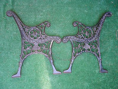 Antique Cast Iron Bench Ends,very Unique Embossed Lion Roaring,steampunk