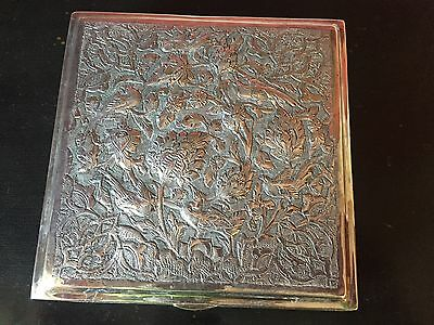 Antique Silverplate Engraved Repoussee Jewelry Box Birds And Flowers