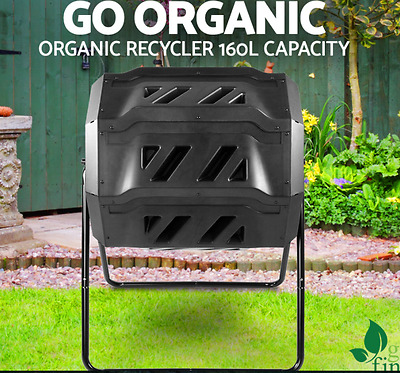 NEW 160L Bin 100% Recycling Food Waste Composter Twin Chamber Compost Garden