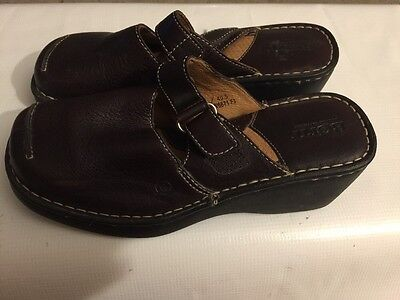Born brown leather mary jane open heel wedge heel Shoes womens size 9/40.5