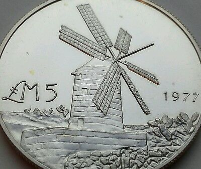 Malta 5 Pounds 1977. KM#47. Proof  .925 Silver Crown coin. UNC. Windmill.