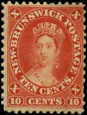 New Brunswick #9 mint F-VF NG 1860 First Cents 10c vermilion Queen Victoria
