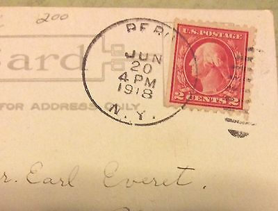 Rare Red  Line Washington 2Cents In Post Card Post Office  Date Year 1918
