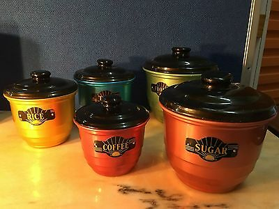 5 Retro Vintage 1960's Harlequin of Anodised Australian Kitchen Canisters