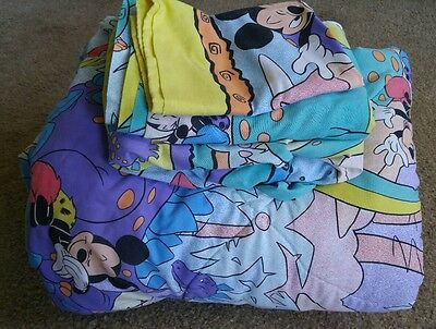 DISNEY Mickey & Minnie Mouse Dinosaur Twin Comforter Flat Fitted Sheet Set of 4