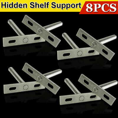 8pcs Concealed Floating Hidden Shelf Support Metal Brackets Practical Tool NEW