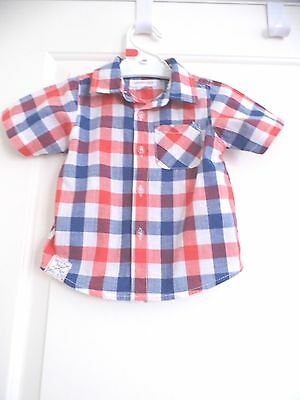 Pumpkin Patch Baby Boy Check Summer Shirt Size 12-18 Mths Euc
