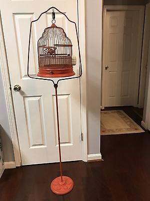 Antique Hendrix Crown Domed Bird Cage (cast iron) beautiful orange/red