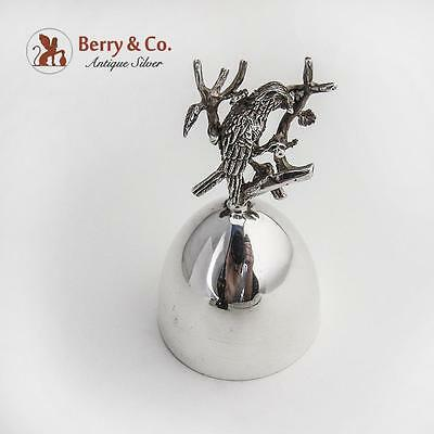 Tea Bell Figural Bird Building a Nest Handle Sterling Silver Spain