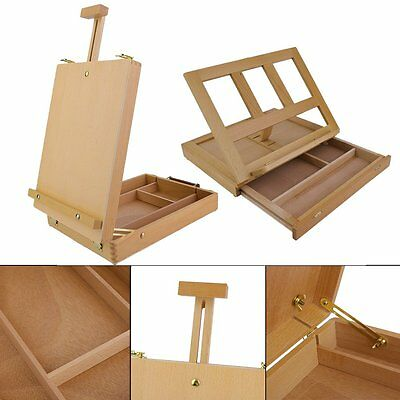 Wooden Tripod Art Easel Portable Sketch Drawing Box Artist Painting Foldable DE