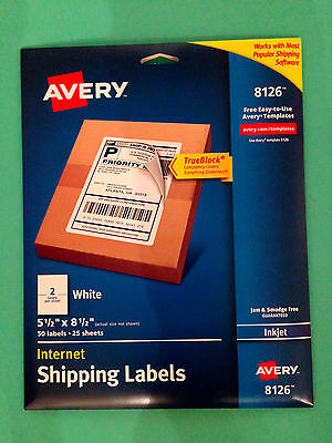 Avery 8126 Inkjet Shipping Labels 5 1/2 x 8 1/2 - 50 Labels 25 Sheets - White
