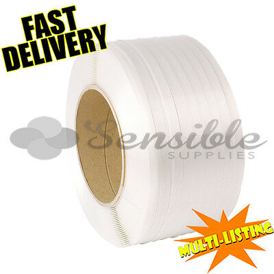 12mm x 3000M HIGH QUALITY MACHINE PALLET STRAPPING WHITE BANDING COILS ROLLS