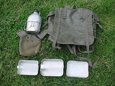 Surplus French Army Backpack Rucksack Mess Tins Water Bottle Webbing