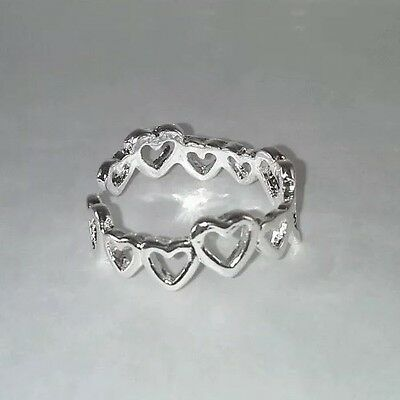 925 Silver  'string Of Hearts' Adjustable Toe Ring (Uk Seller, Fast Shipping)