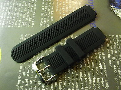 Genuine France Brand Lacoste 16-22Mm Black Watch Rubber Band