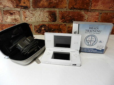 Nintendo Ds White Lite & Brain Training Game & Charger Excellent Condition Case