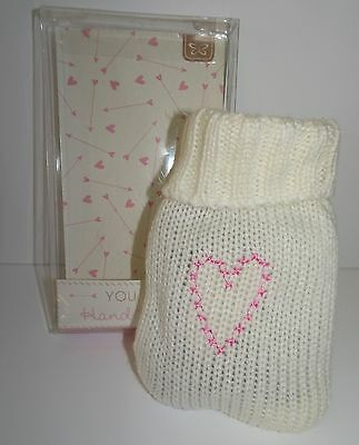Lovely Knitted Reusable Hand Warmer with Pink Heart Design. Fab for Winter Days.