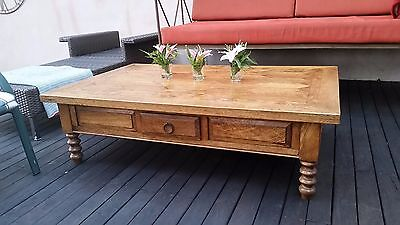 Large and Heavy Solid Timber Parquetry Style Coffee Table Drawer Lounge Dining