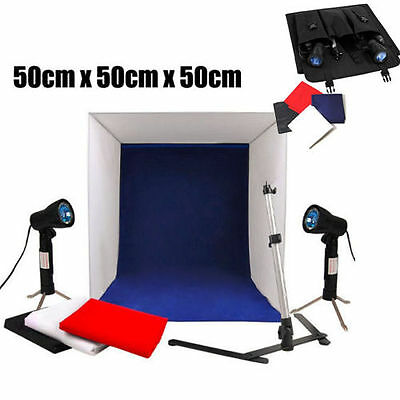 50CM Table Portable Photography Studio LightingTent Cube Softbox Kit 4 Backdrops