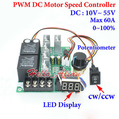 PWM DC Motor Speed Controller LED Display 10-55V 60A With CW CCW Reversible New
