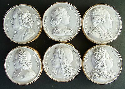 Antique Group Of 6 Grand Tour Late 1800,s Plaster Intaglios Set C