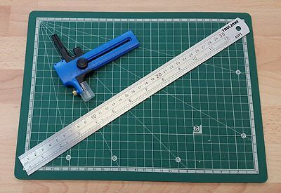 A4 CUTTING MAT 30cm STAINLESS RULE ADJUSTABLE COMPASS PAPER CARD STOCK CUTTER