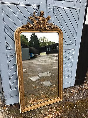 Antique French Gilt Mirror With Cherub Absolutely Stunning