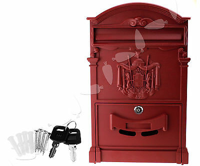 Burgundy Vintage Style Letter Mail Post Box Aluminium Lockable Wall Mounted Box