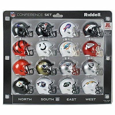 Riddell NFL AFC Conference Mini Replica Speed Pocket Helmet Set -16 Pieces - 5cm