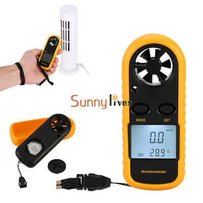 Digital LCD Anemometer Wind Speed Meter Tester Temperature Gauge Thermometer New