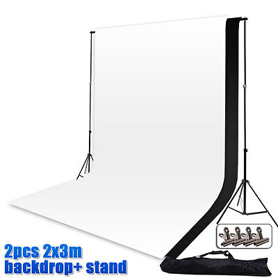 Photography Large 2x3m Black+White Backdrops Screen Background Support Stand Set