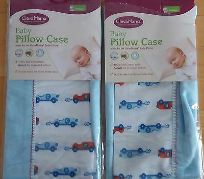 2 x Clevamama Replacement Baby Pillow Case Blue