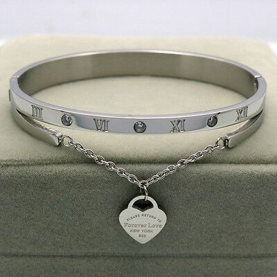 LUXURY AND HOT Women's Fashion Silver Bracelet & Bangle Heart Love Tag