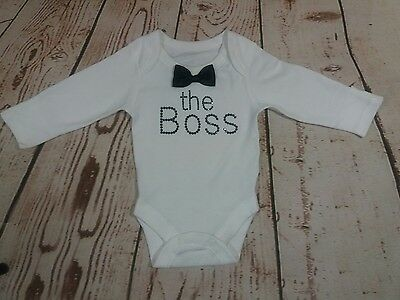new born baby boy vest bodysuit THE BOSS outfit size 0-1m