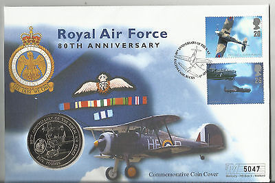 80th Anniv of Royal Air Force - Commemorative Cover with £5 coin - Great Britain