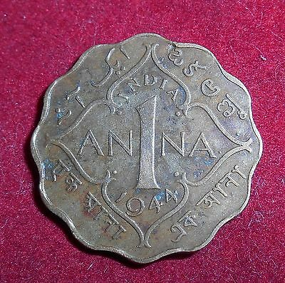 British India 1944 George VI King Emperor One Anna Brass Coin (Fc251)