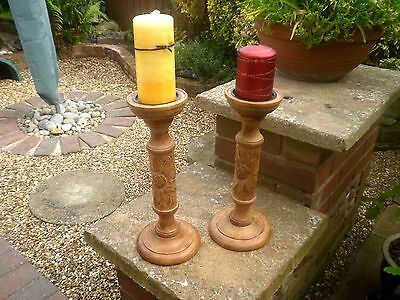 Pair of turned & carved wood pillar candle candlesticks, solid wood holders