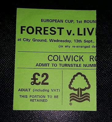 1978/79 European Cup NOTTINGHAM FOREST v LIVERPOOL  original match ticket