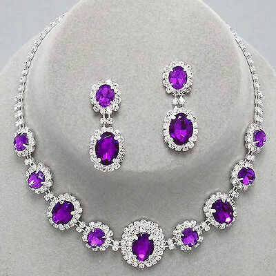 Violet silver tone rhinestone crystal necklace set brides proms party sparkly